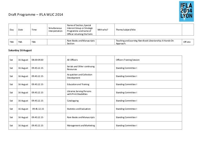 Draft Programme – IFLA WLIC 2014      Day  Date  Time  Simultaneous  Interpretation  Name of Section, Special  Interest Gr...