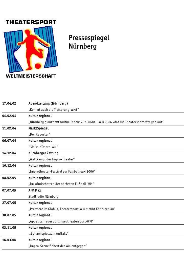 """Pressespiegel                                        Nürnberg17.04.02   Abendzeitung (Nürnberg)           """"Kommt auch die ..."""