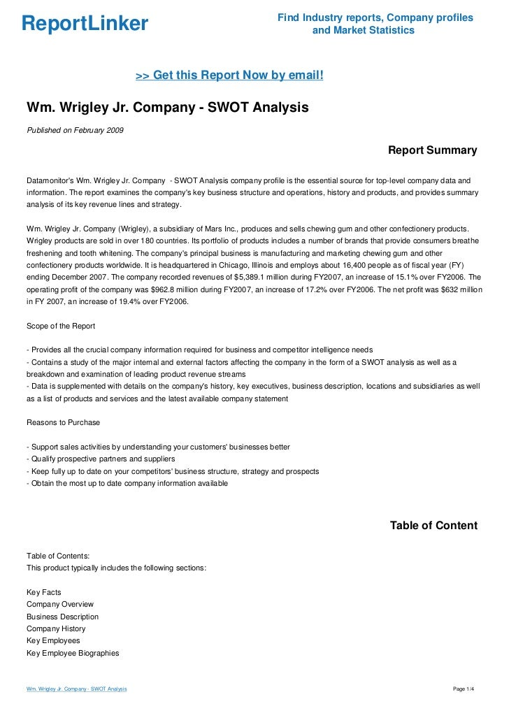 financial and swot analysis of the wm wrigley View test prep - wrigley jr from mba 7294 at wilmington university mba 7294: advanced financial analysis case study the wm wrigley jr company: capital structure, valuation, and cost of.