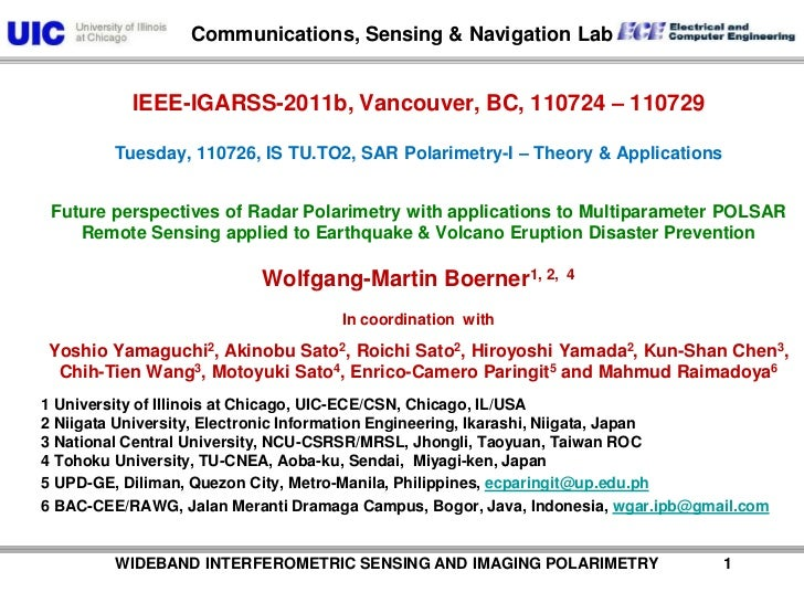 WIDEBAND INTERFEROMETRIC SENSING AND IMAGING POLARIMETRY               1<br />IEEE-IGARSS-2011b, Vancouver, BC, ...