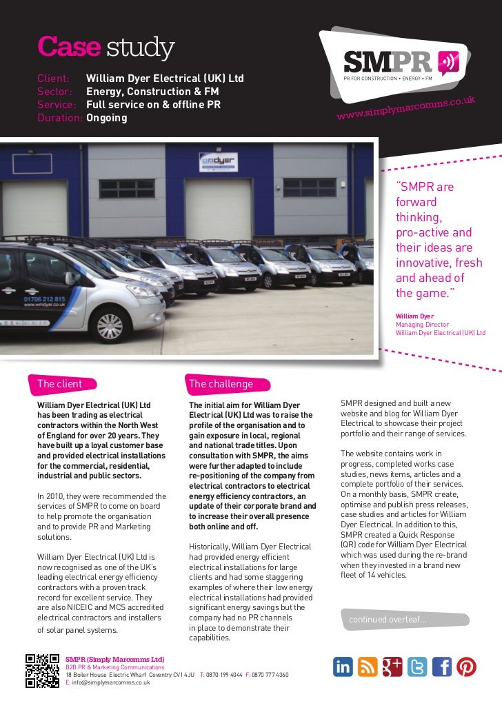 Energy and Construction PR and Marketing Case Study - William Dyer Electrical UK Ltd