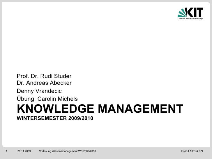 PKM Lecture 1 - Introduction and Tools - (2009)