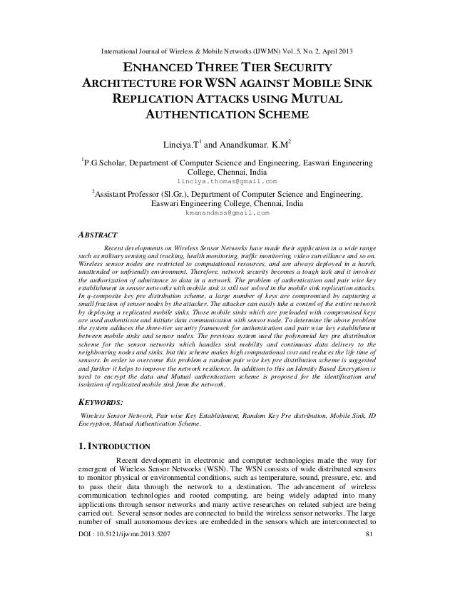 ENHANCED THREE TIER SECURITY  ARCHITECTURE FOR WSN AGAINST MOBILE SINK  REPLICATION ATTACKS USING MUTUAL  AUTHENTICATION SCHEME