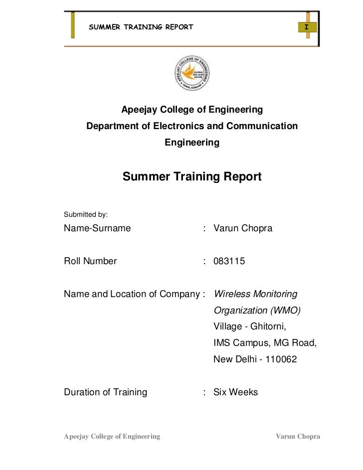SUMMER TRAINING REPORT                                    I                 Apeejay College of Engineering      Department...