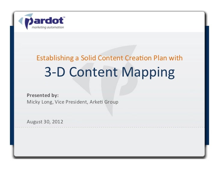Establishing a Solid Content Crea4on Plan with           3-‐D Content Mapping                        ...