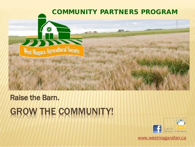 West Niagara Agricultural Centre Community Partners Program