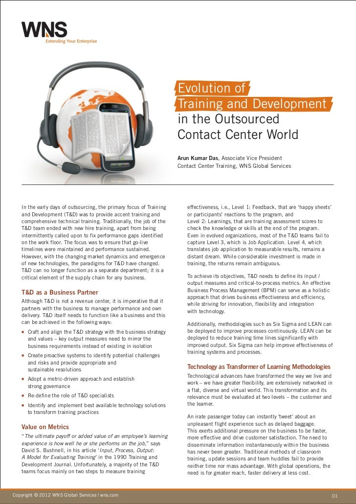 Evolution of Training and Development in the Outsourced Contact Center World