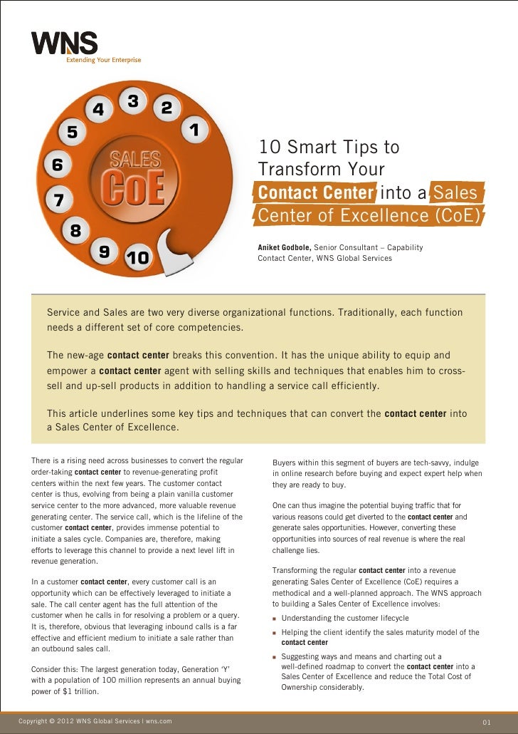 10 Smart Tips to Transform Your Contact Center into a Sales Center of Excellence (CoE)