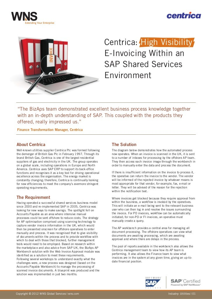 Centrica: High Visibility                                                                    E-Invoicing Within an        ...