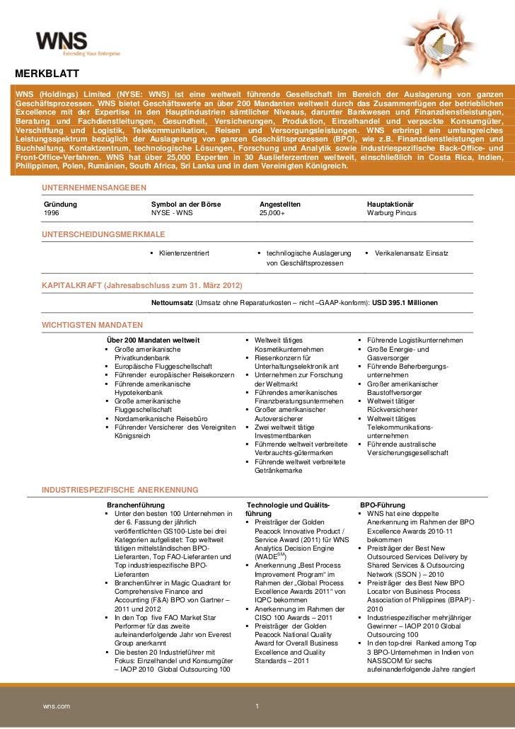 MERKBLATTWNS (Holdings) Limited (NYSE: WNS) ist eine weltweit führende Gesellschaft im Bereich der Auslagerung von ganzenG...