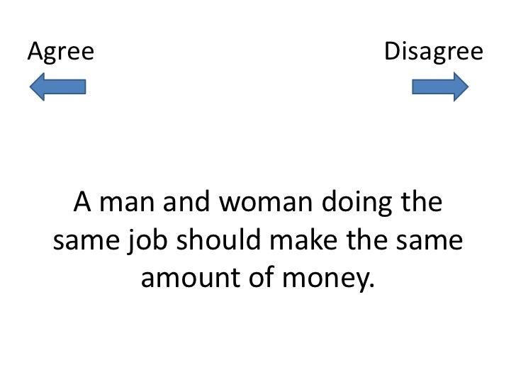 Agree                   Disagree   A man and woman doing the same job should make the same       amount of money.