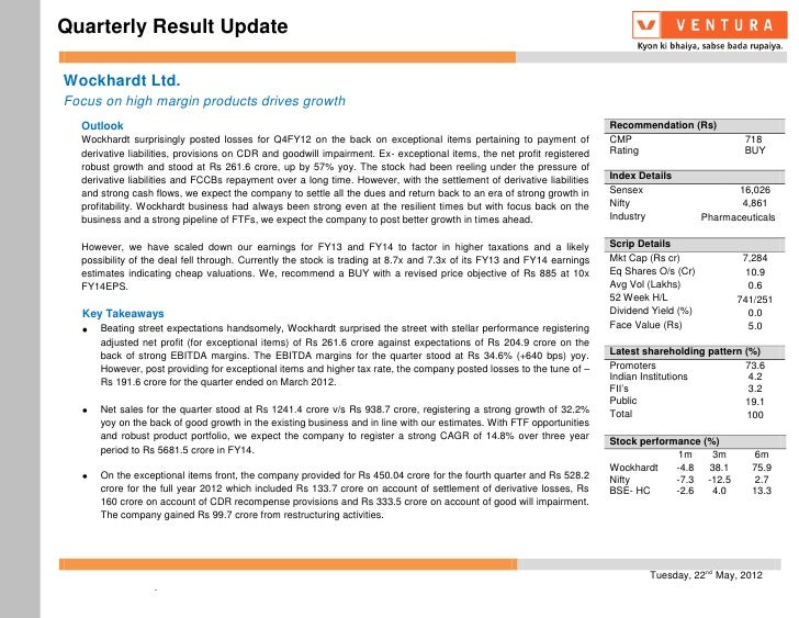 Quarterly Result UpdateWockhardt Ltd.Focus on high margin products drives growth  Outlook                                 ...