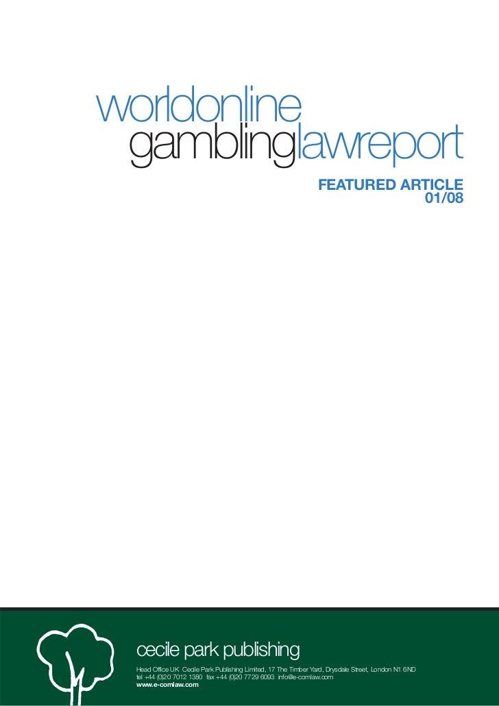 worldonline gamblinglawreport                                                               FEATURED ARTICLE              ...