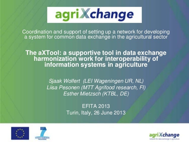 Coordination and support of setting up a network for developinga system for common data exchange in the agricultural secto...