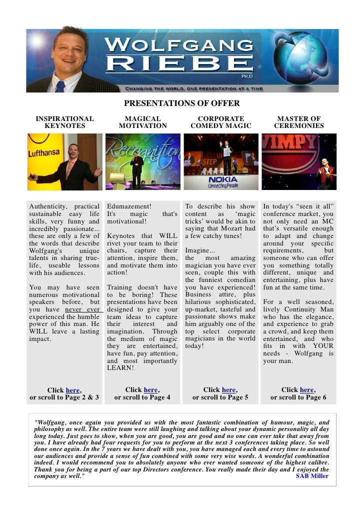 PRESENTATIONS OF OFFER  INSPIRATIONAL                 MAGICAL                   CORPORATE                     MASTER OF   ...