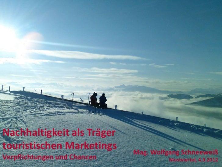 Nachhaltigkeit als Trägertouristischen Marketings      Mag. Wolfgang SchneeweißVerpflichtungen und Chancen             Mos...