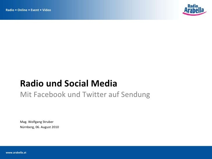 Radio und Social Media Mit Facebook und Twitter auf Sendung <ul><li>Mag. Wolfgang Struber </li></ul><ul><li>Nürnberg, 06. ...