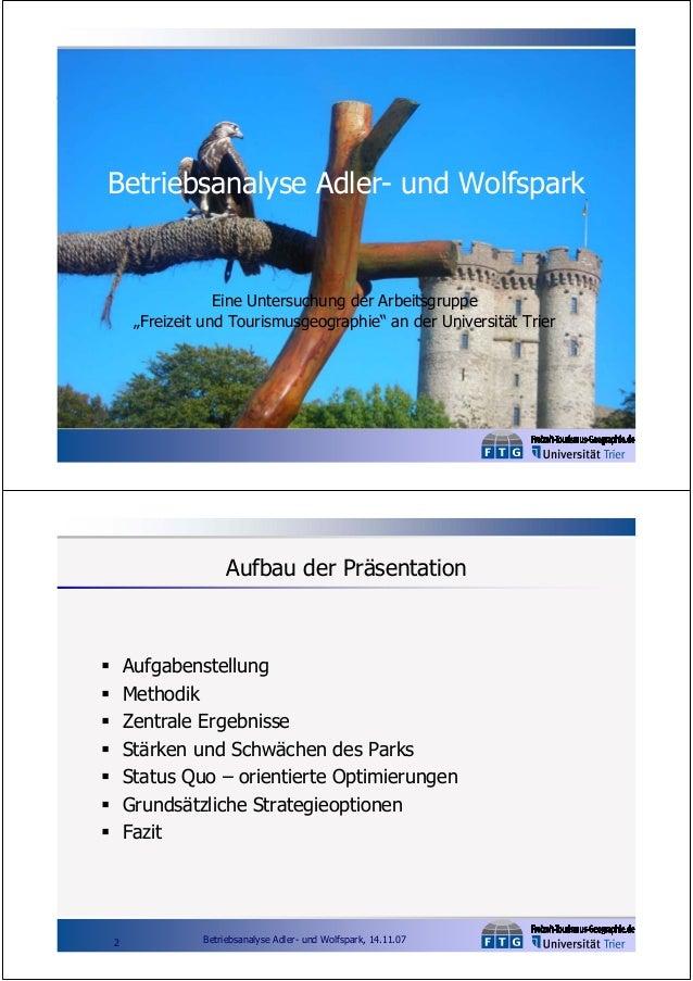 """Betriebsanalyse Adler- und Wolfspark  Eine Untersuchung der Arbeitsgruppe """"Freizeit und Tourismusgeographie"""" an der Univer..."""