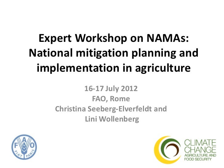 Expert Workshop on NAMAs:National mitigation planning and implementation in agriculture             16-17 July 2012       ...
