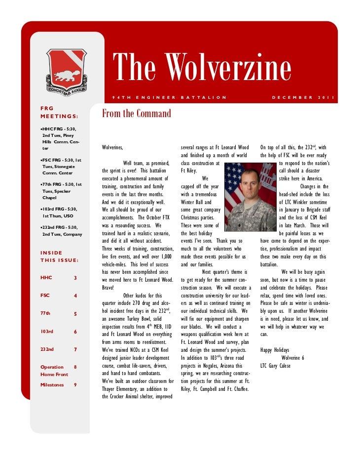 Wolverzine newsletter december 2011