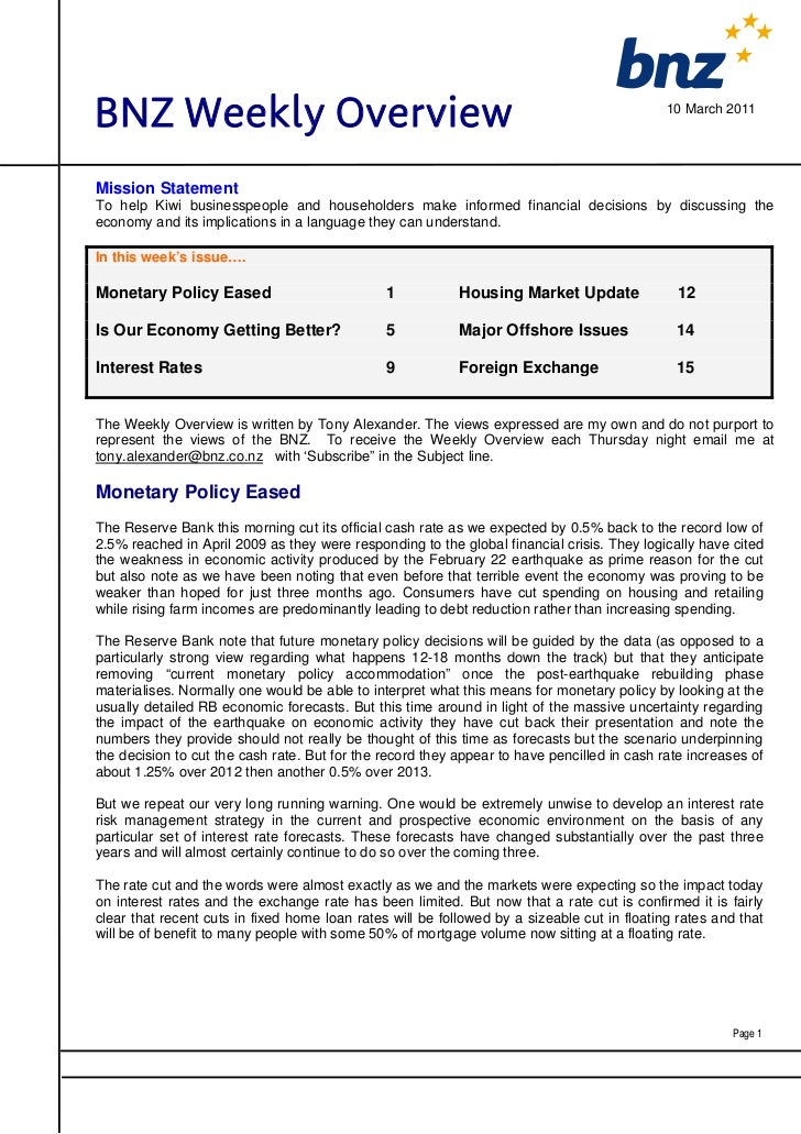 BNZ Weekly Overview                                                                          10 March 2011Mission Statemen...