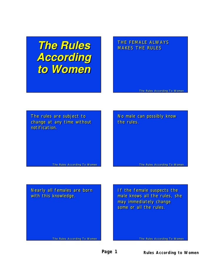 The Rules According to Women