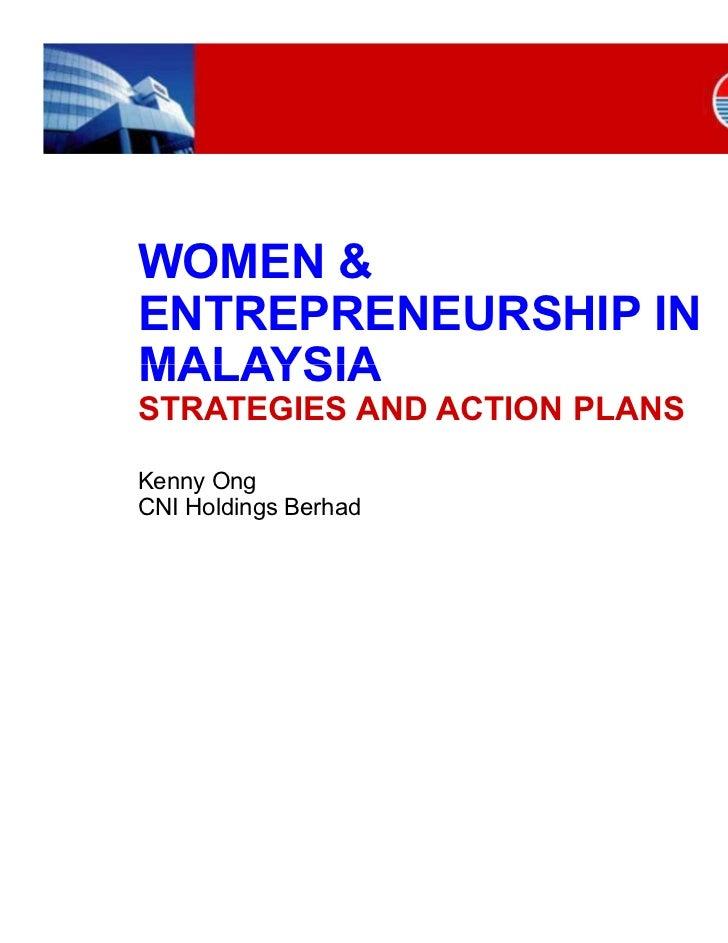 Women & Entrepreneurship in Malaysia - Strategies & Action Plans