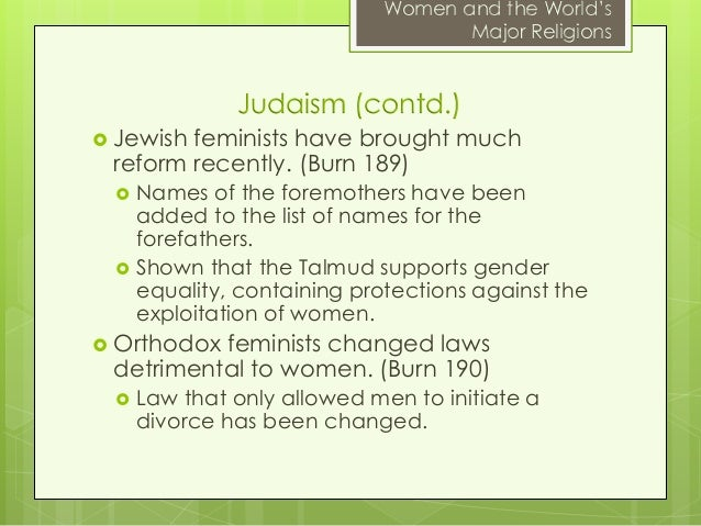 a description of the role of women in judaism Traditional role of jewish women the focus lies on the description of the image of jewish mothers in at first sight it seems that women only play a minor role.