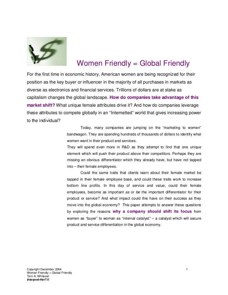 Women Friendly Global Friendly