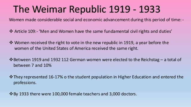 how successful was the weimar republic In my opinion the weimar republic was quite successful in the way that it helped germany to overcome many problems that i have mentioned above.