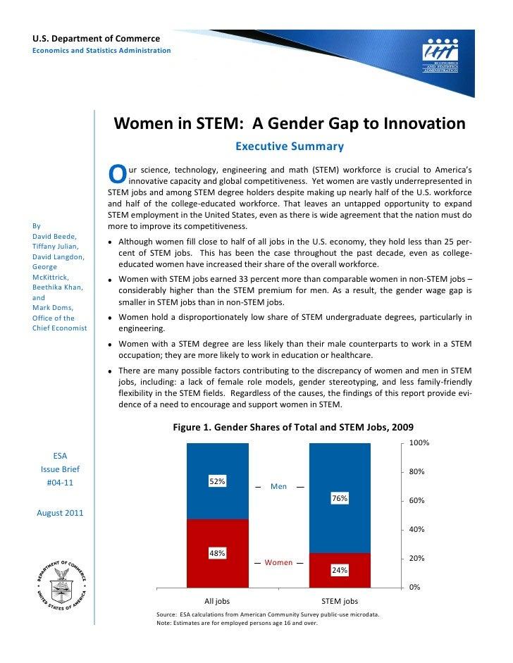 U.S.DepartmentofCommerceEconomicsandStatisticsAdministration                       WomeninSTEM:AGenderGapt...