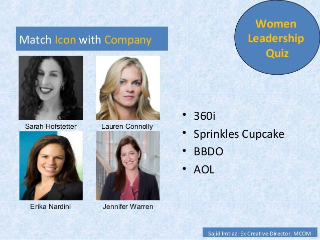 Match Icon with Company • 360i • Radio Shack • BBDO • AOL Women Leadership Quiz