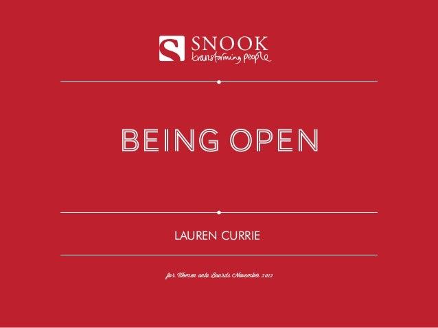 SNOOKbeing open    LAUREN CURRIE  for Women onto Boards November 2012