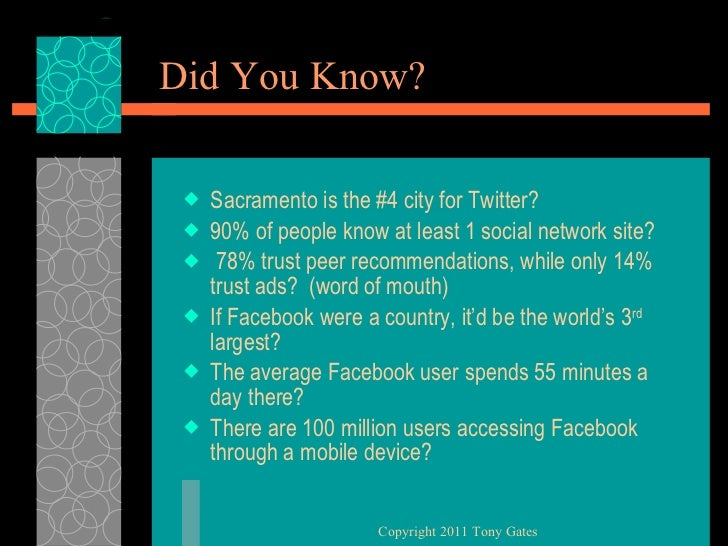 Did You Know? <ul><li>Sacramento is the #4 city for Twitter? </li></ul><ul><li>90% of people know at least 1 social networ...