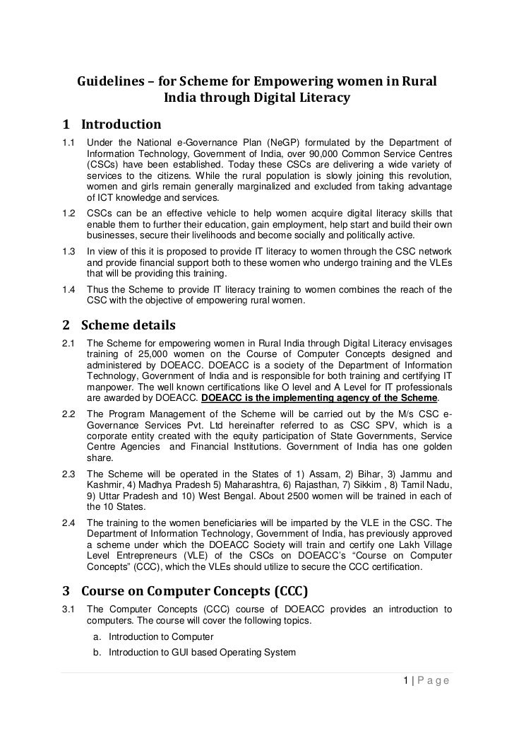 "Guidelines for ""Women's literacy program through CSCs"""