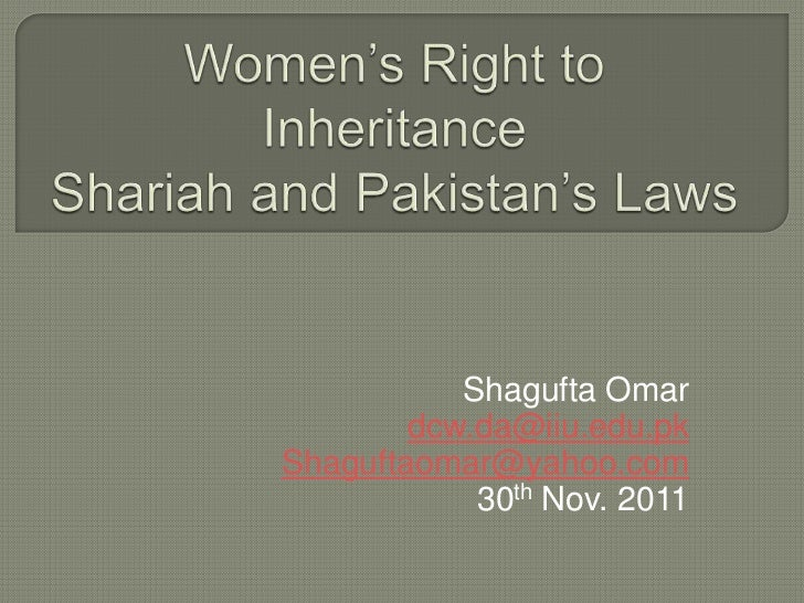 Women's right to inheritance, shariah and pakistan's laws