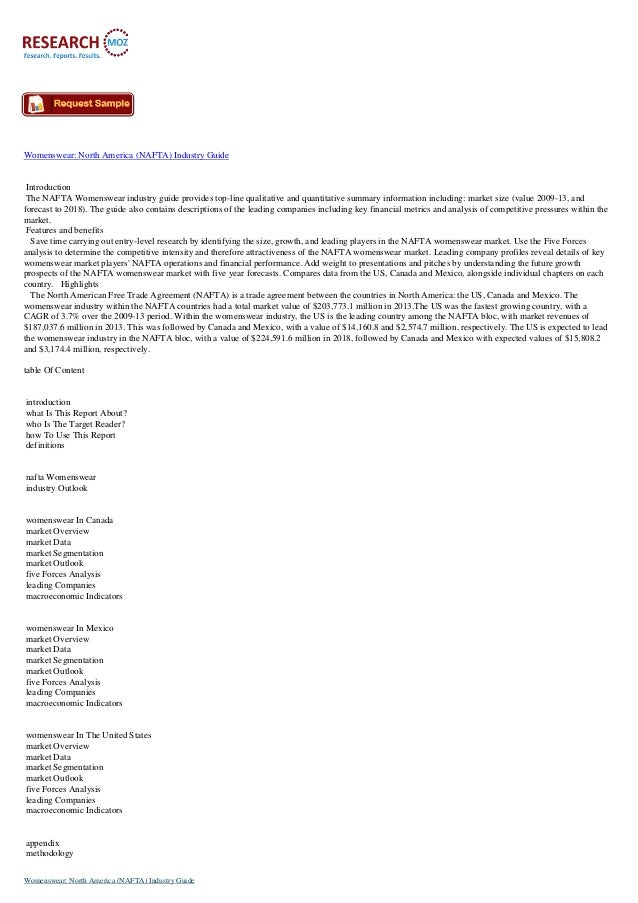 Womenswear: North America (NAFTA) Industry Guide Introduction The NAFTA Womenswear industry guide provides top-line qualit...