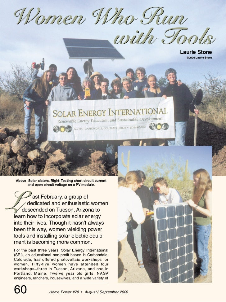 Women Who Run with Tools - Solar Energy International