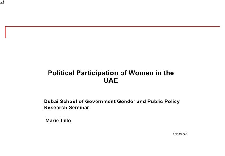 Dubai School of Government Gender and Public Policy Research Seminar Marie Lillo  Political Participation of Women in the ...