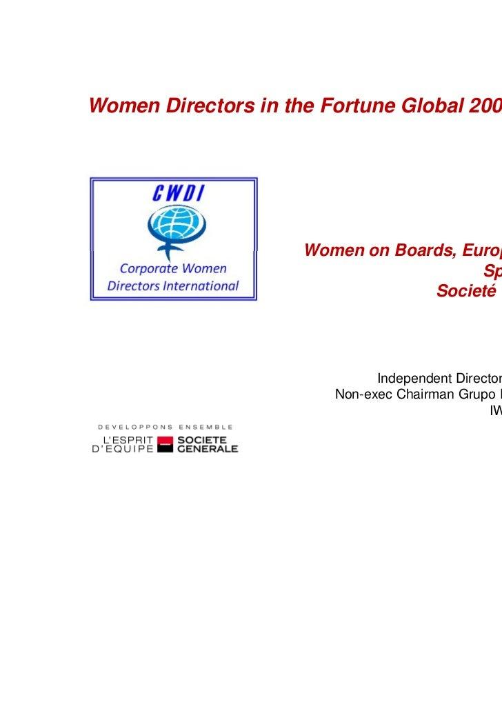 Women on Boards, Europe's progress, Spain Grupo Día Societé Générale case