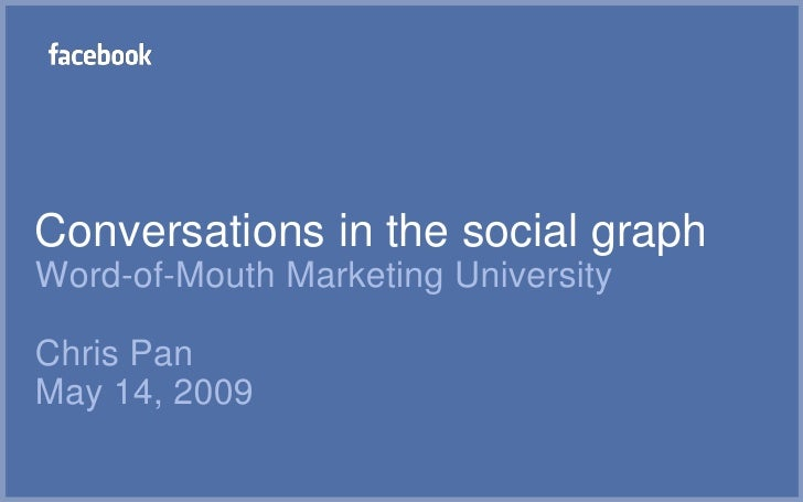 Conversations in the social graphWord-of-Mouth Marketing UniversityChris PanMay 14, 2009<br />