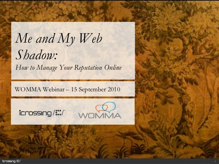 Me and My Web Shadow:  How to Manage Your Reputation Online  WOMMA Webinar – 15 September 2010