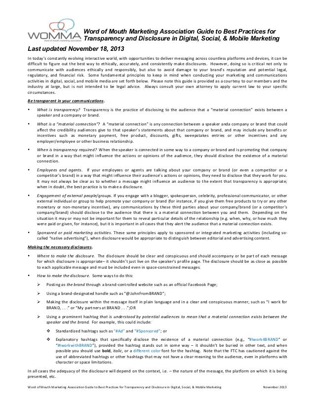 Official WOMMA Social Media Disclosure Guidelines (2013)
