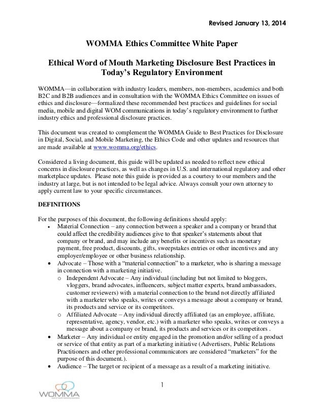 WOMMA Ethics Committee White Paper (2014)