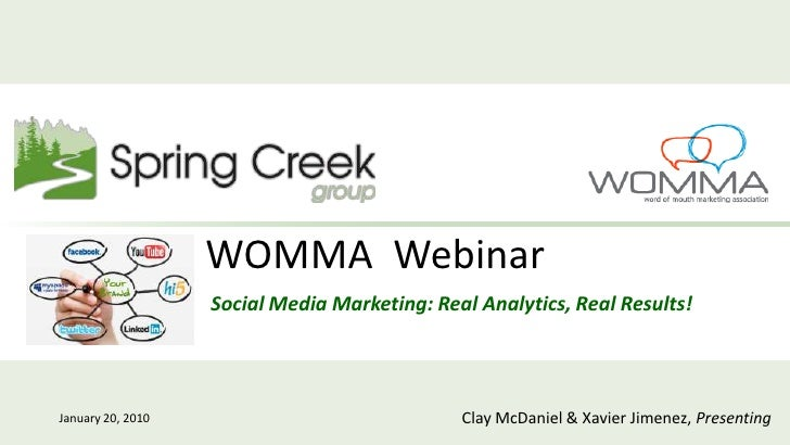 Social Media Marketing for Direct Response: Real Analytics, Real Results [Spring Creek Group, WOMMA Webinar, Jan 2010]