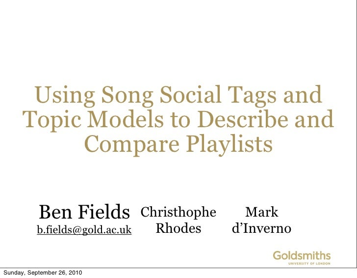 Using tags and topic models to describe and compare playlists