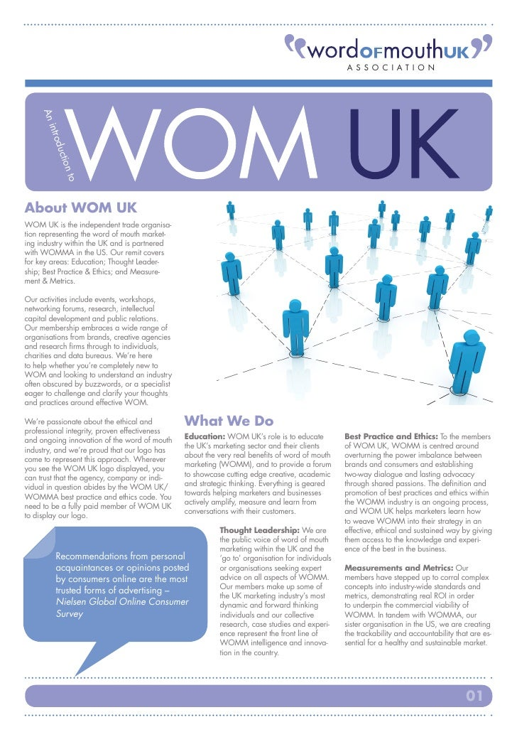ASSOC I ATI ON     An        intro             duc                tion               to     About WOM UK WOM UK is the ind...