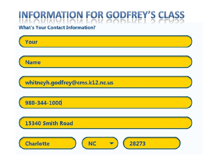 Information for Godfrey's Class<br />