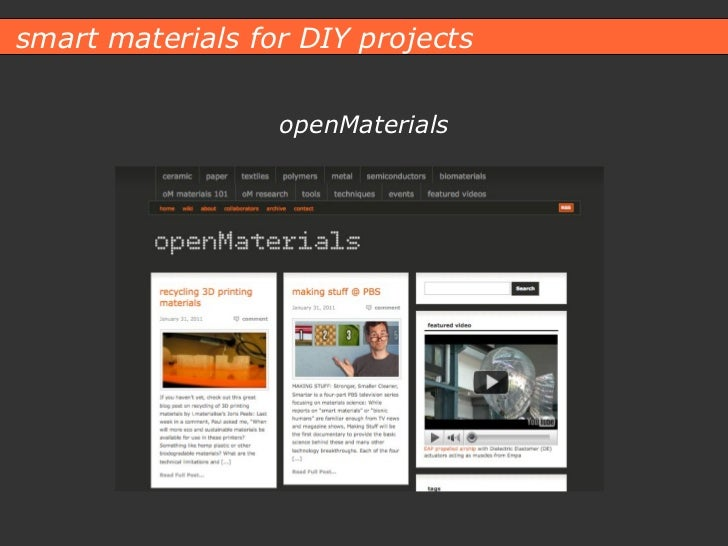 openMaterials smart materials for DIY projects