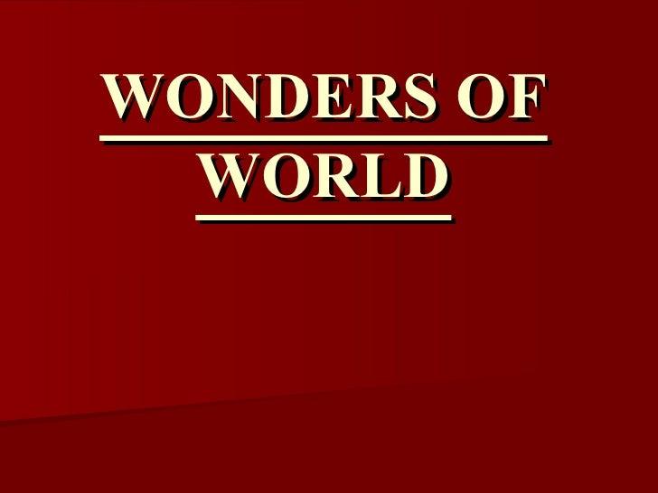 Wonders Of World